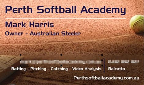 Perth Softball Academy Business Card